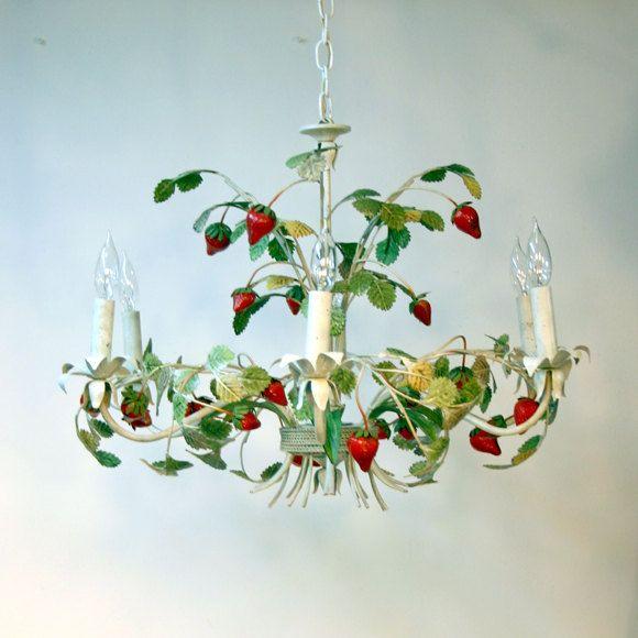 Italian Tole Chandelier Strawberry 258 00 Via Etsy