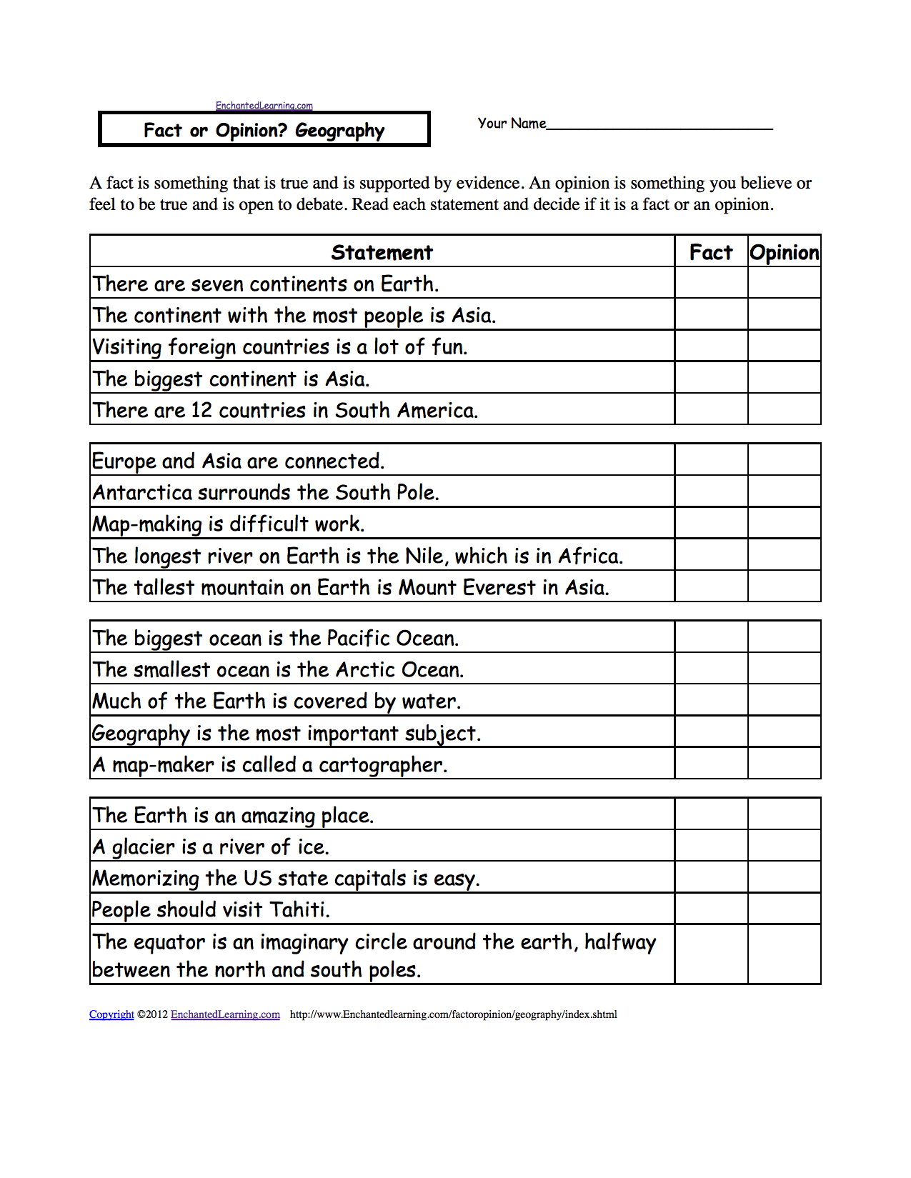 Five Themes Of Geography Worksheet