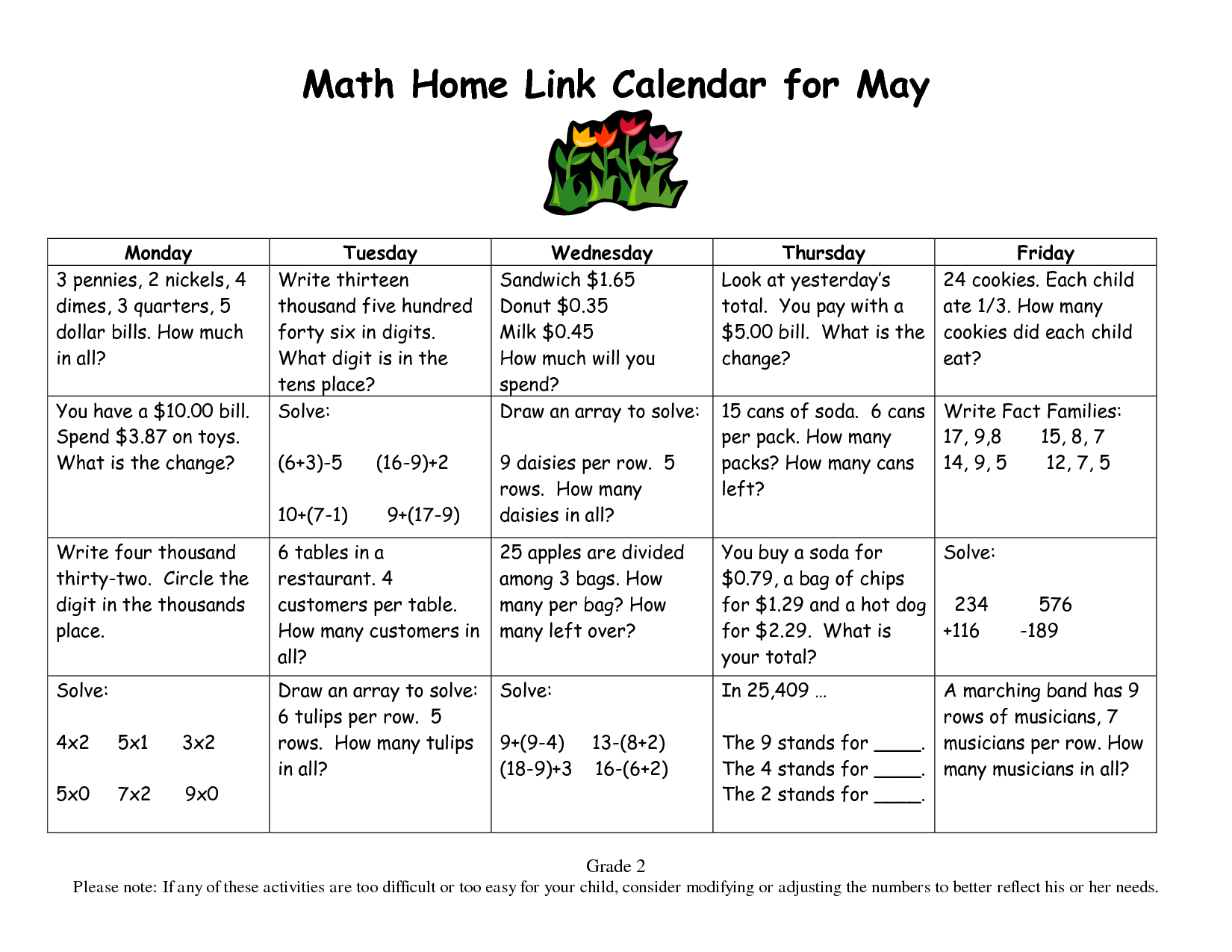Calendar Math For Third Grade
