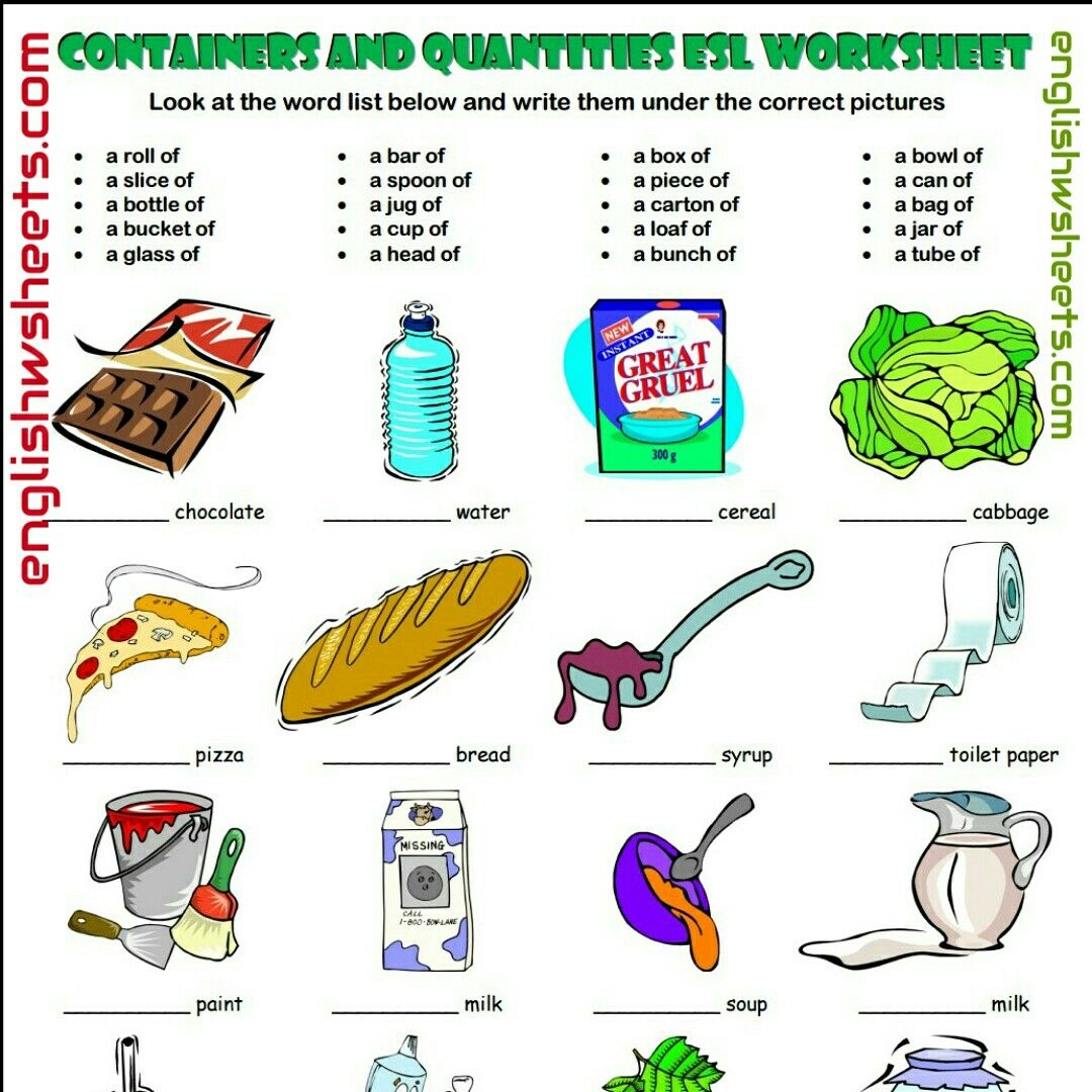 Containers And Quantities Esl Printable Worksheet For Kids