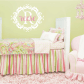 Name and initial vinyl wall decal shabby chic damask border