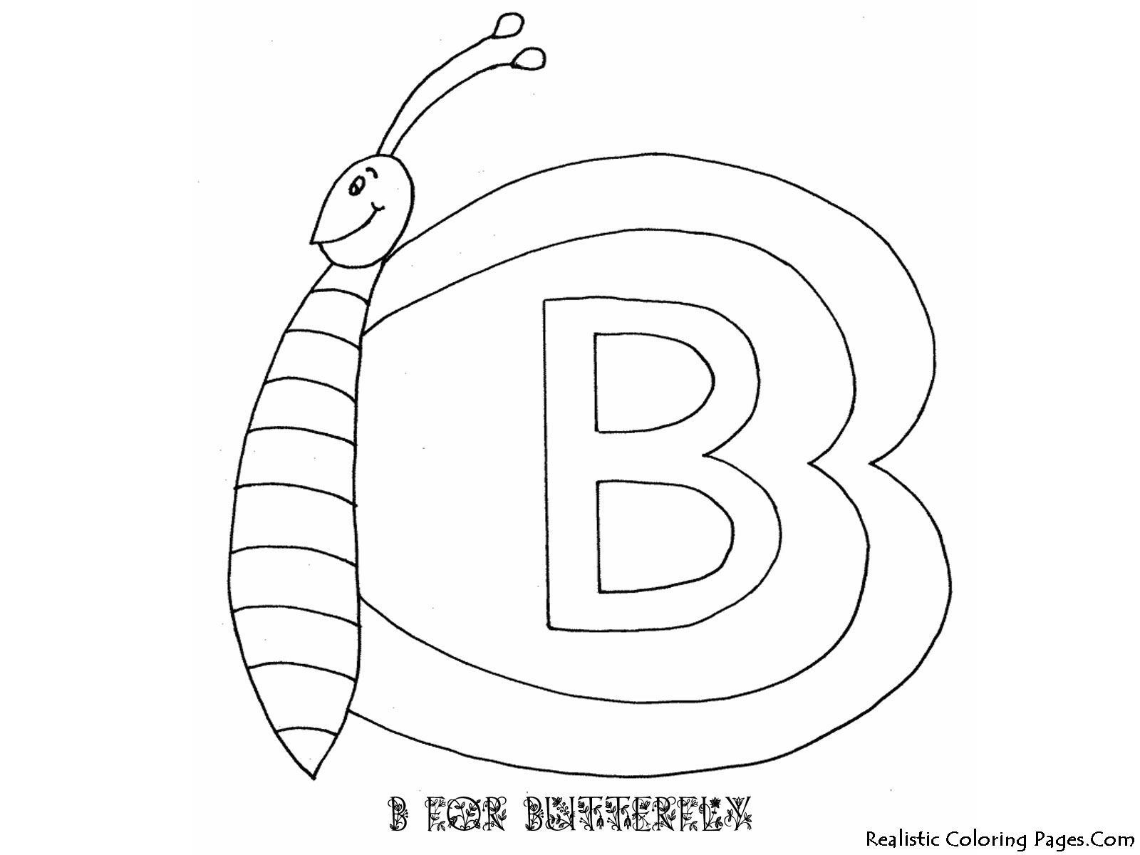 Alphabet Coloring Pages B For Butterfly