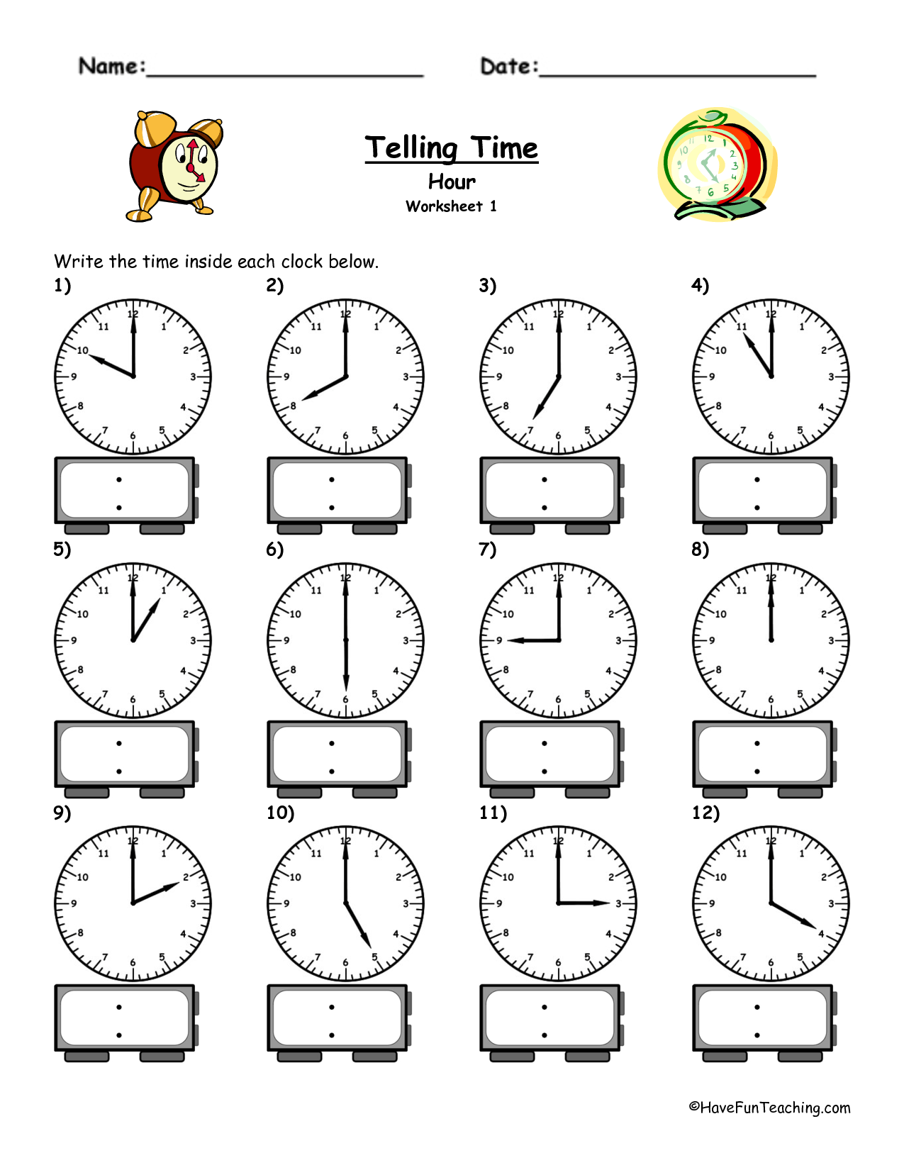 Telling Time Worksheet To 5 Min