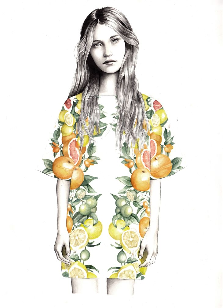 fashion illustration featuring stella mcartney outfit