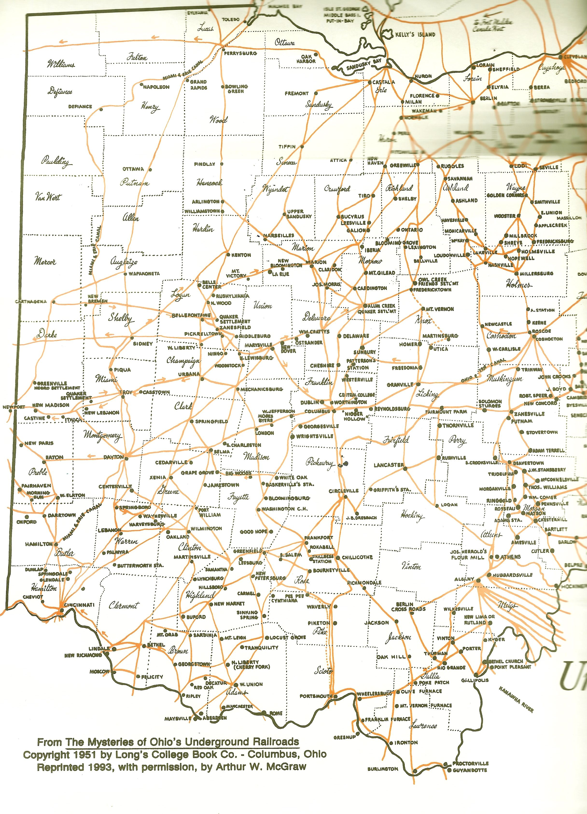 Underground Railroad Map Based On Research By William
