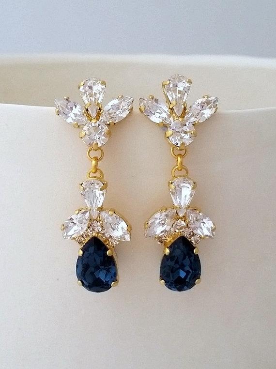 Navy Blue Bridal Earrings Chandelier Wedding