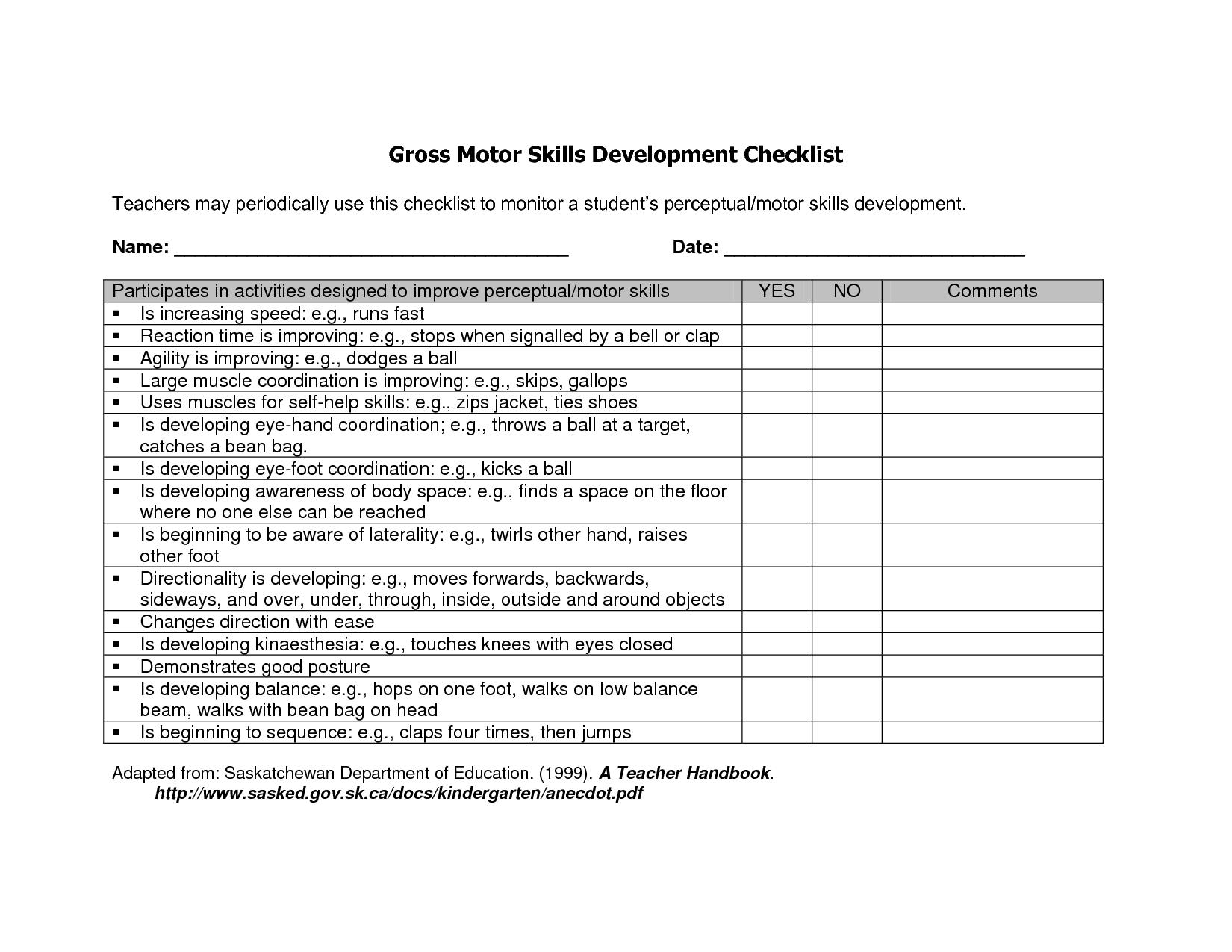 Preschool Gross Motor Skills Checklist