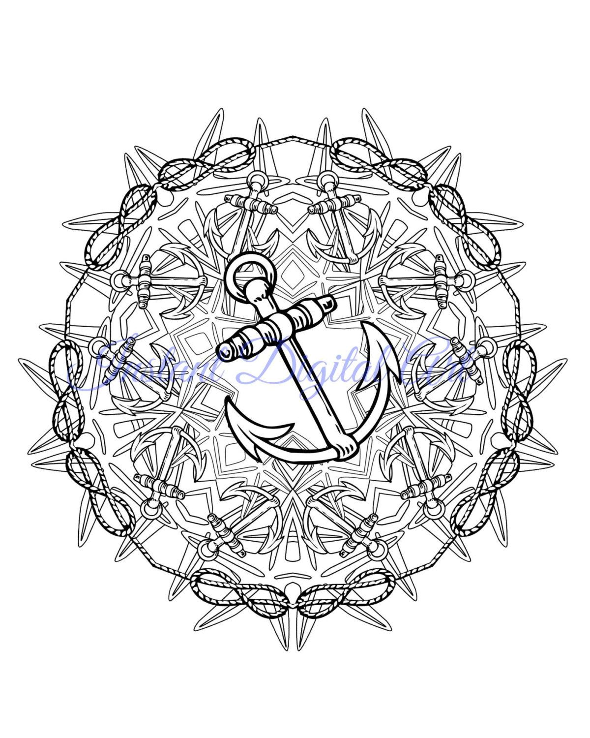 Mandala Coloring Pages Mehndi Henna Black And White Printable Nautical Anchor Ocean Instant
