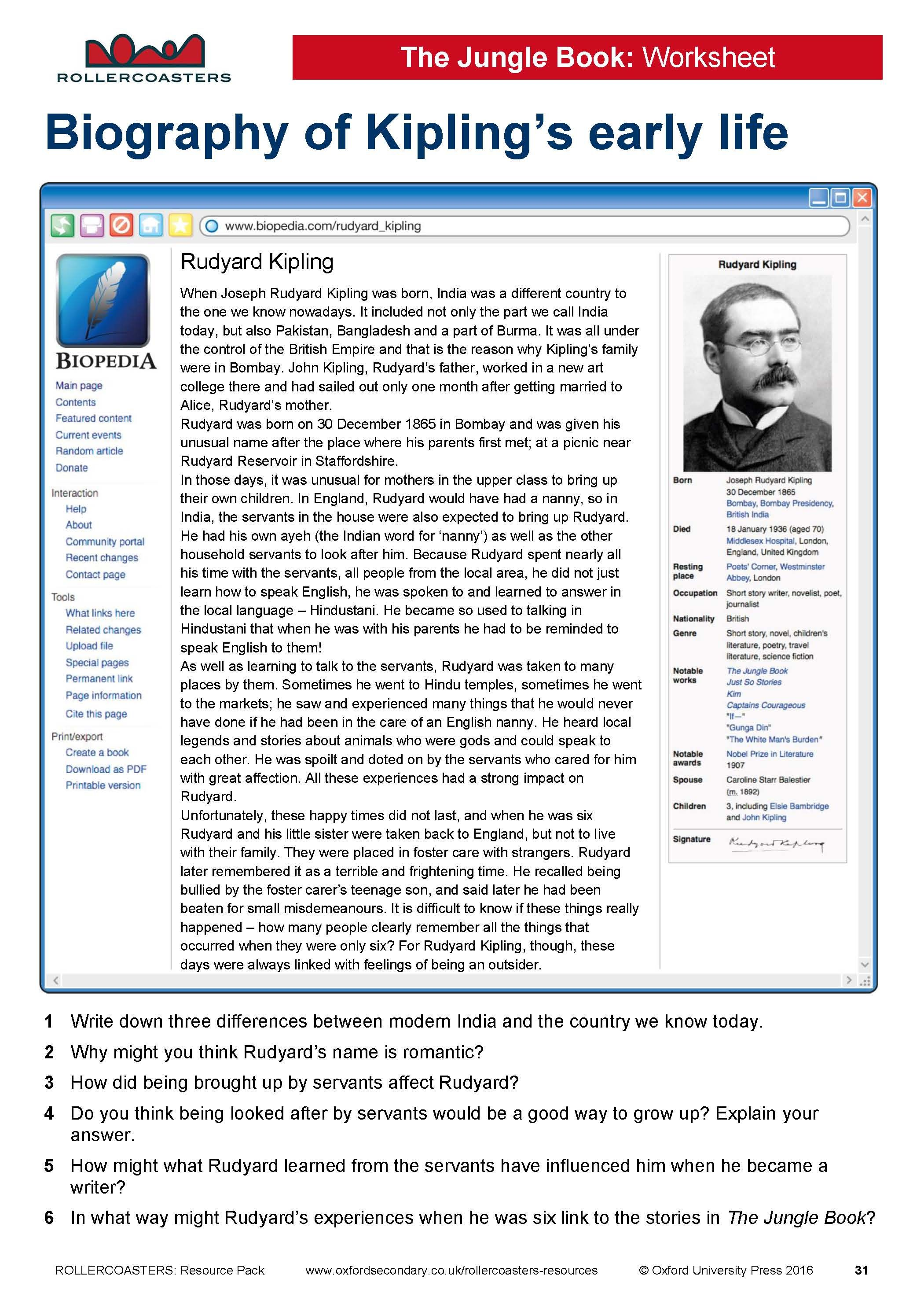Introduce Your Students To Rudyard Kipling With This Free Worksheet Ideal For Year 8 Students