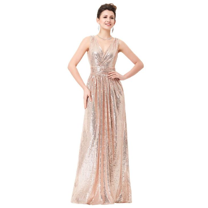 Long Sequin Evening Dress Pink Double V Neck Cheap Evening Gowns