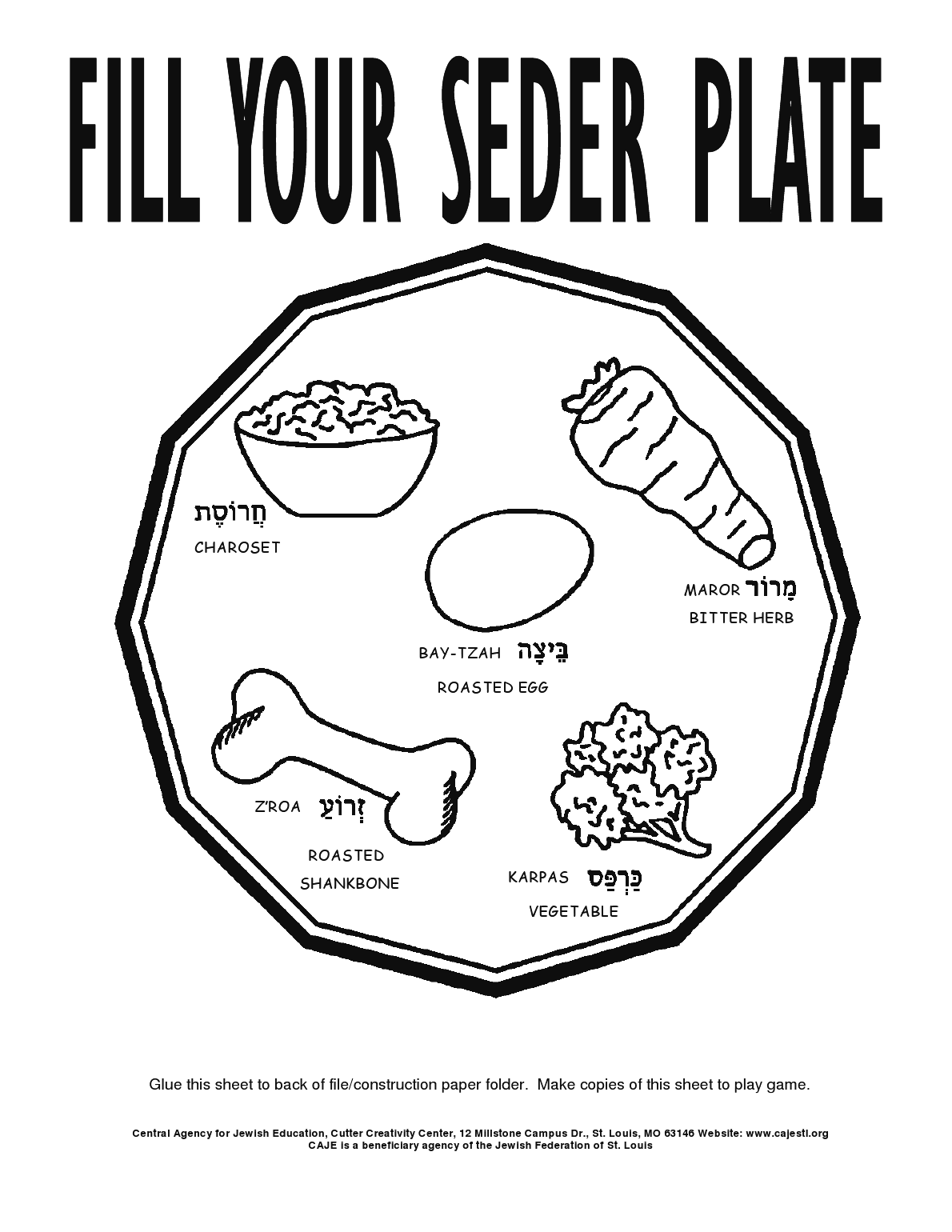 Fill Your Seder Plate Coloring Page For Children