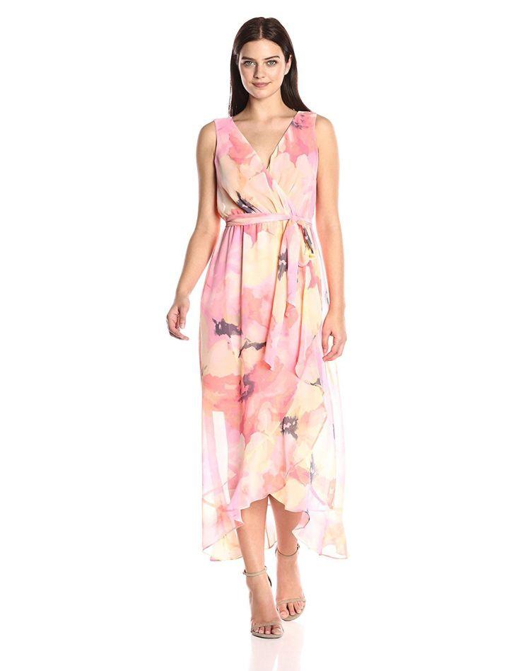 Sangria Womenus Sleevless Floral Wrap Dress at Amazon Womenus