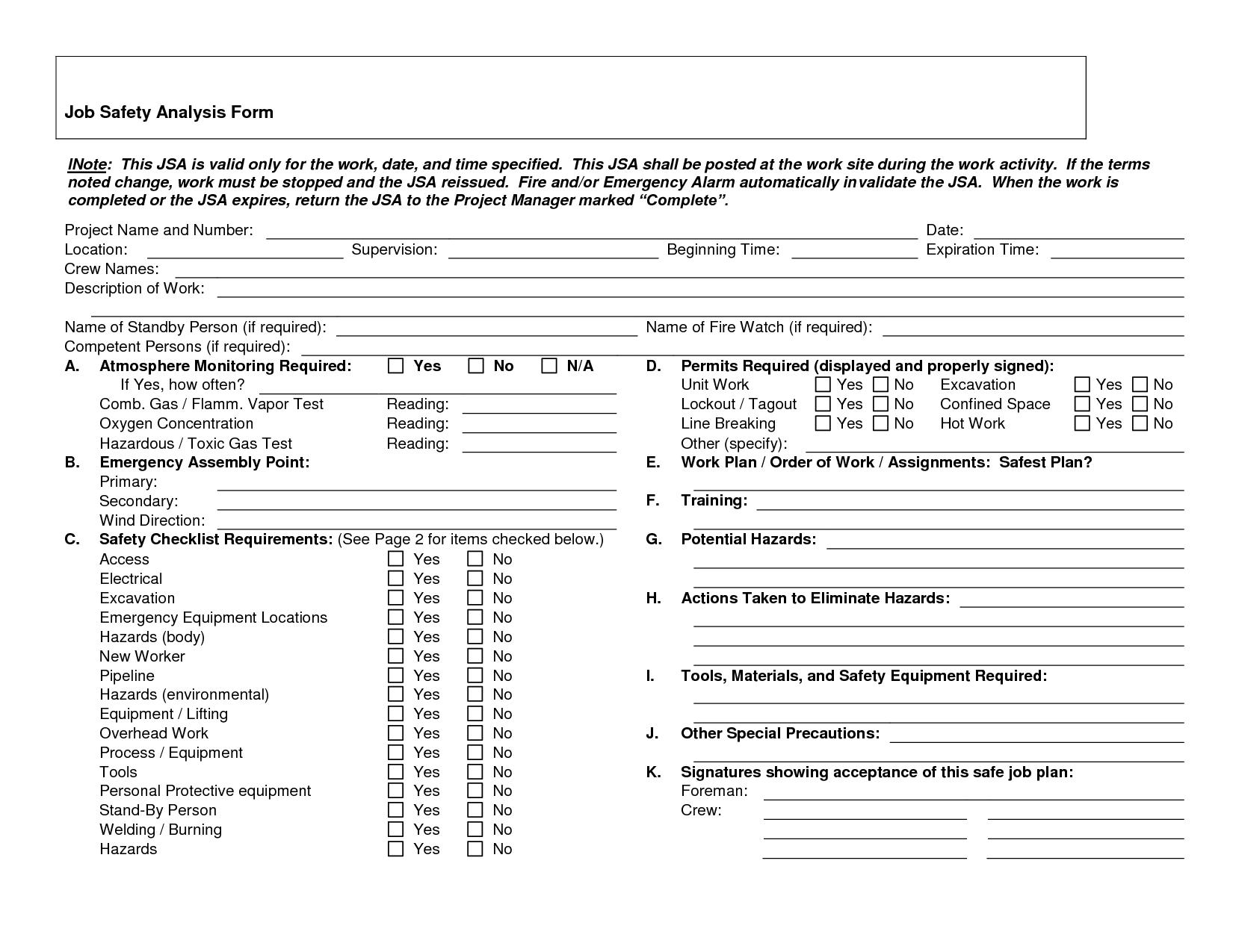 Job Safetyysis Forms Job Safetyysis Form