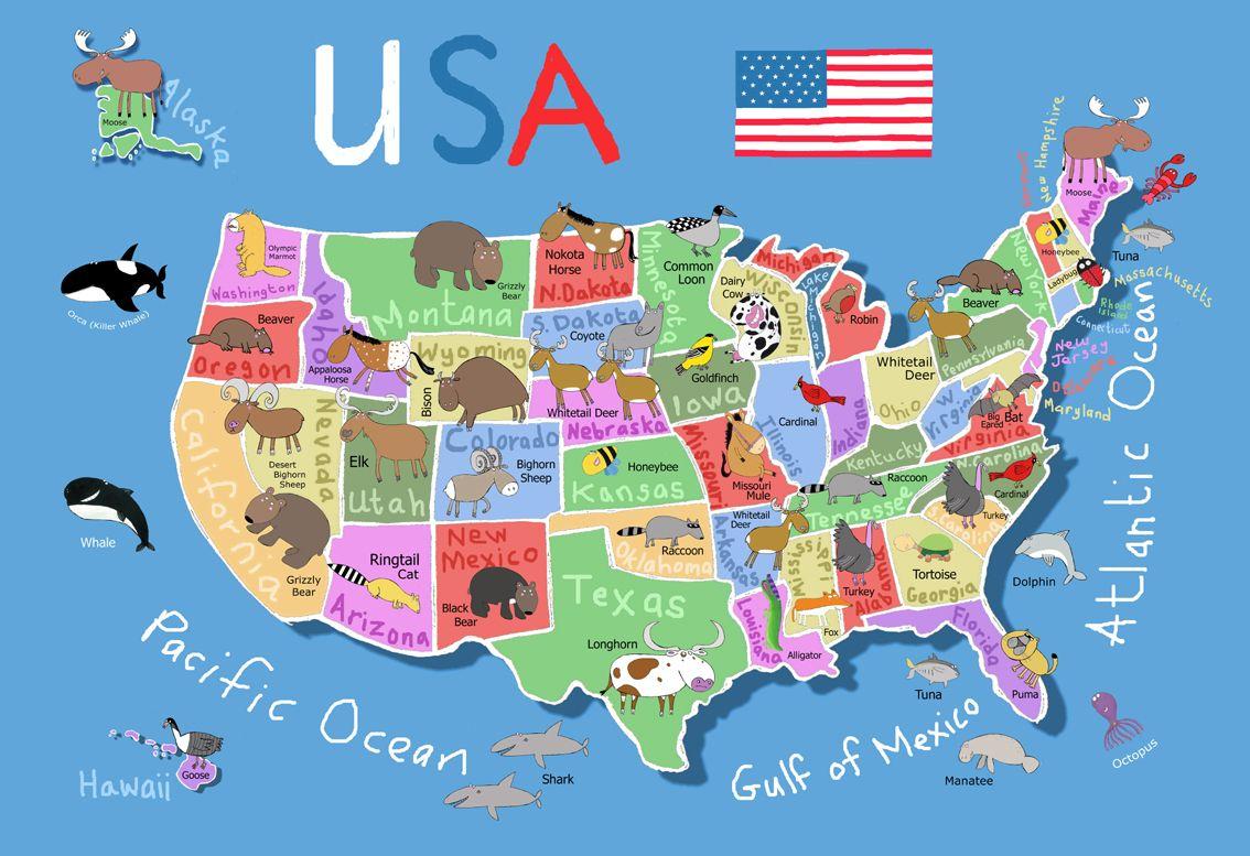 Printable Map Of Usa For Kids