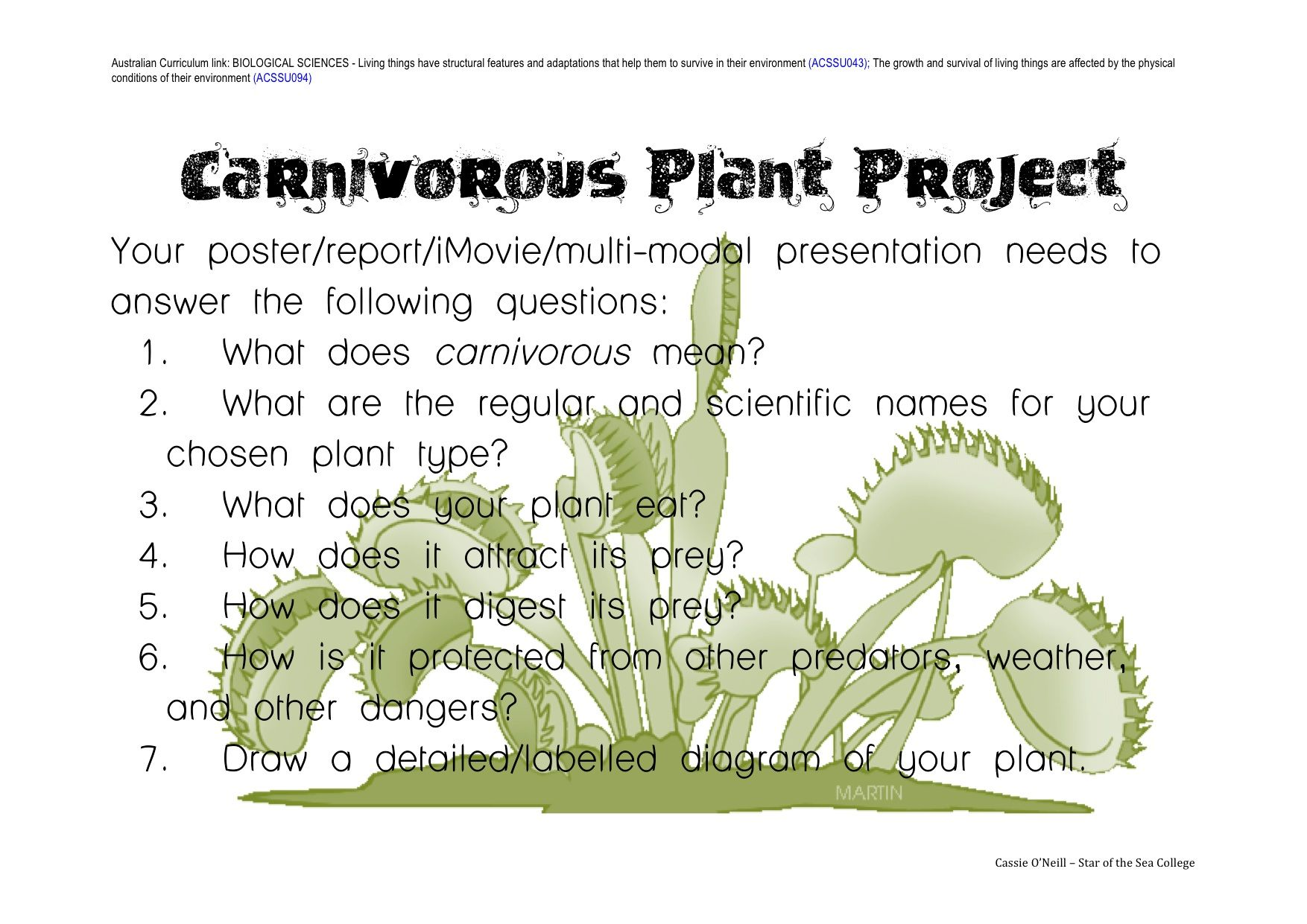 Carnivorous Plants Project Questions