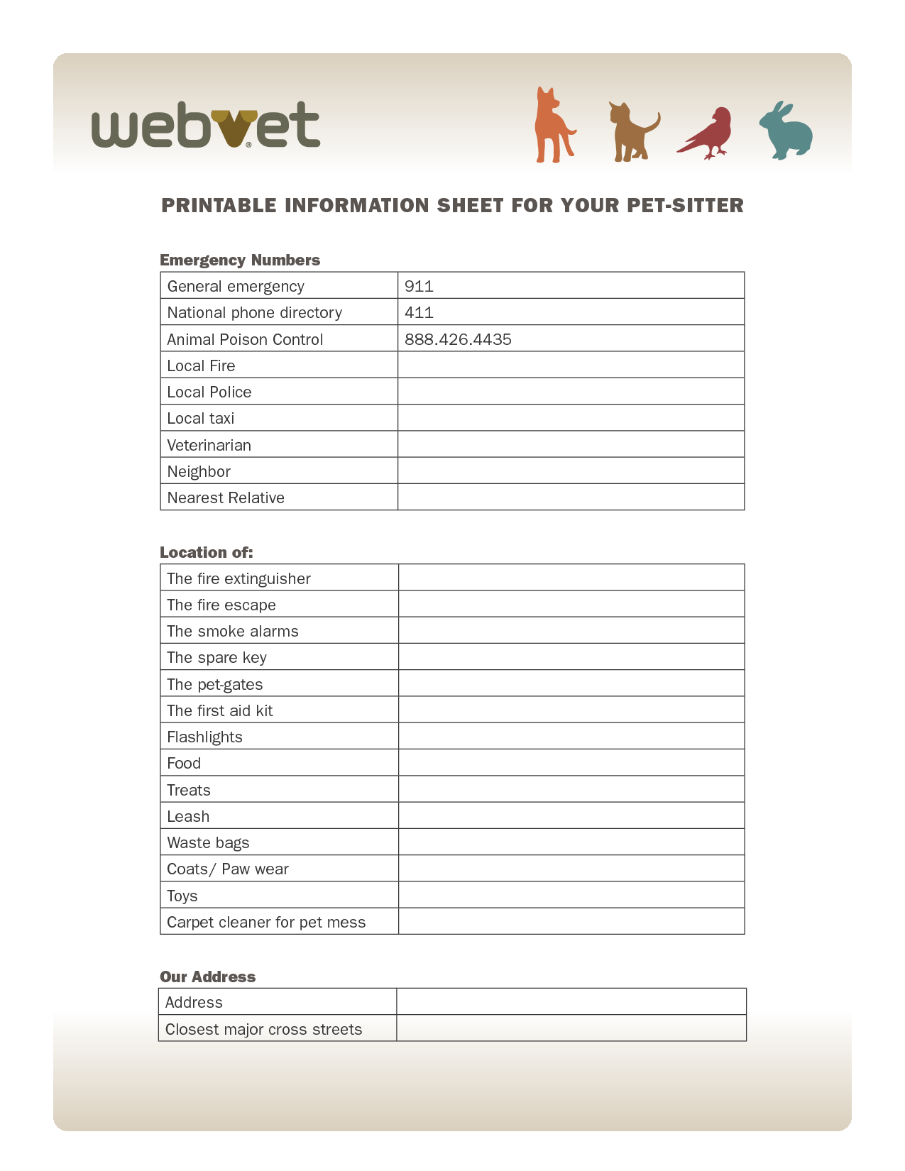 Printable Information Sheet For Your Pet Sitter Emergency Numbers