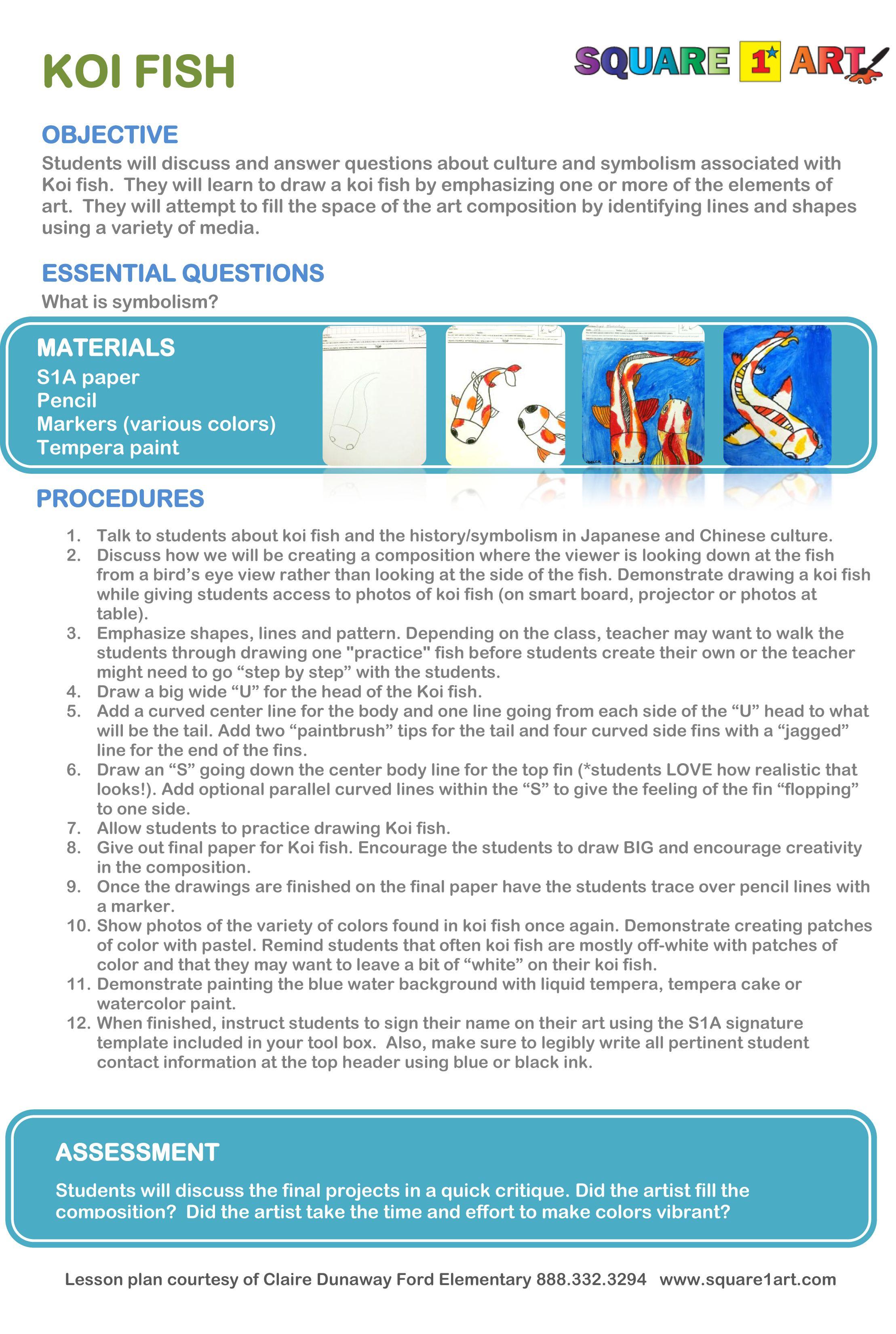 Koi Fish Lesson Plan Square1art