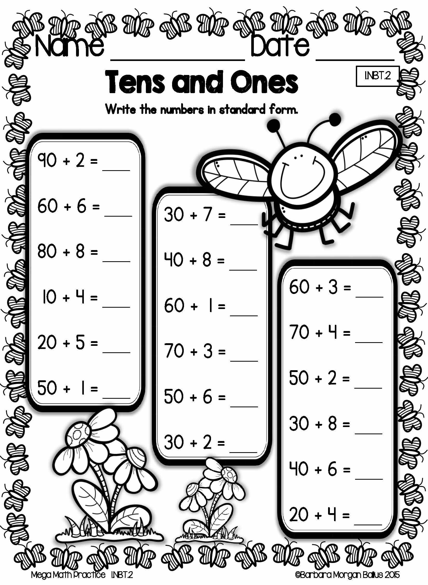 Understanding Place Value Mega Math Practice Spring 1 Nbt 2 First Grade