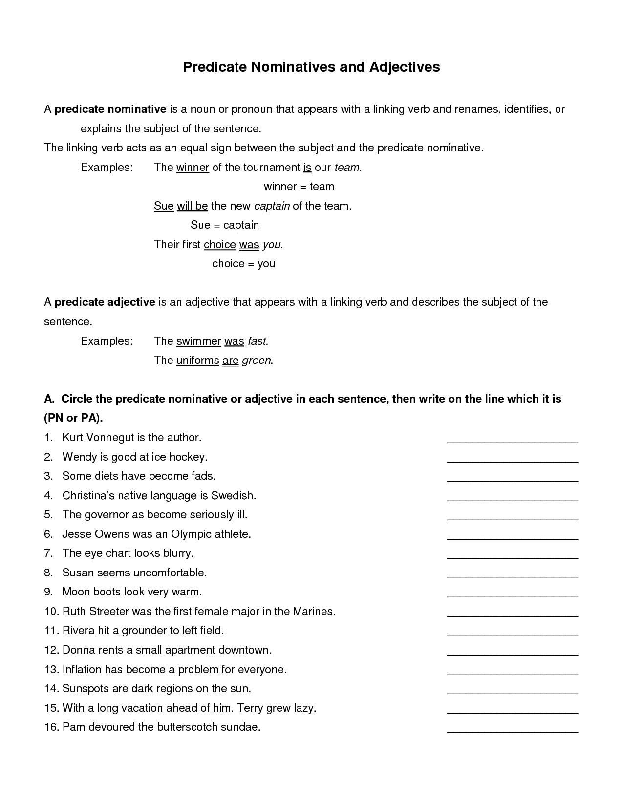 Nominative Pronouns Worksheet