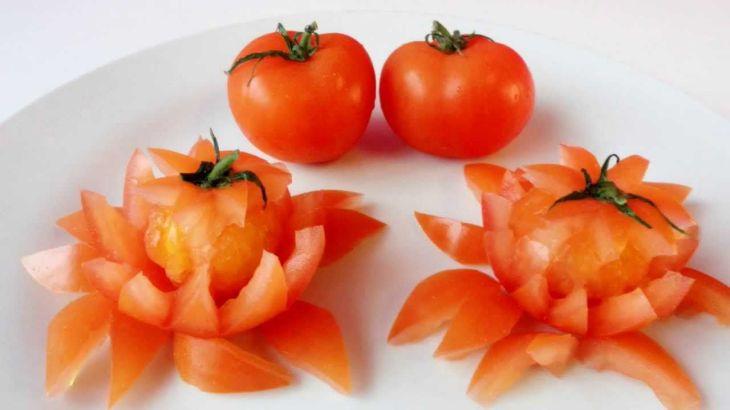Art In Tomato Show Vegetable Carving Tomato Flowers Garnishing
