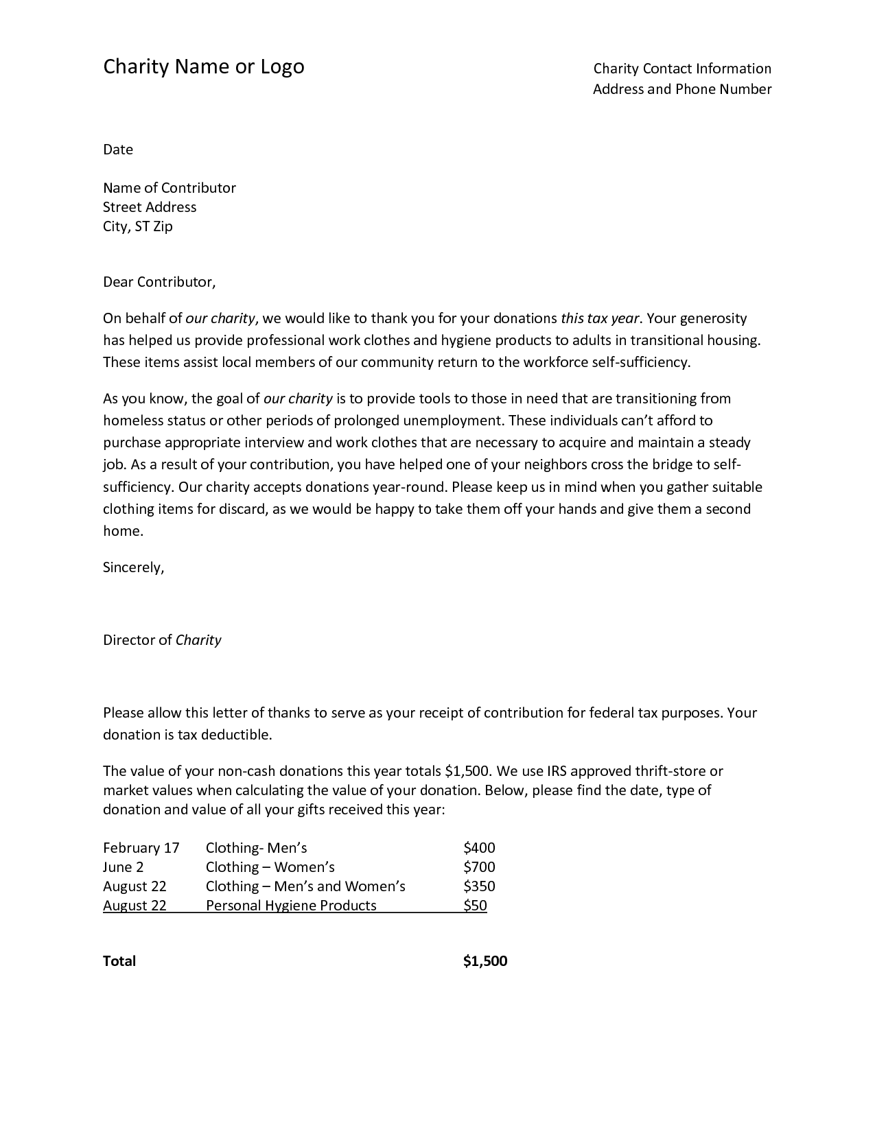 Cash Donation Thank You Letter