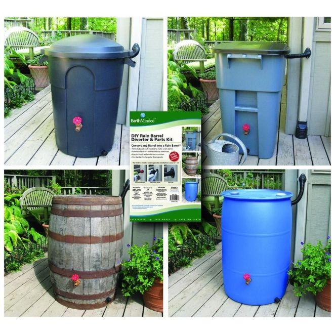 Diy rain barrel diverter and parts kit black rain