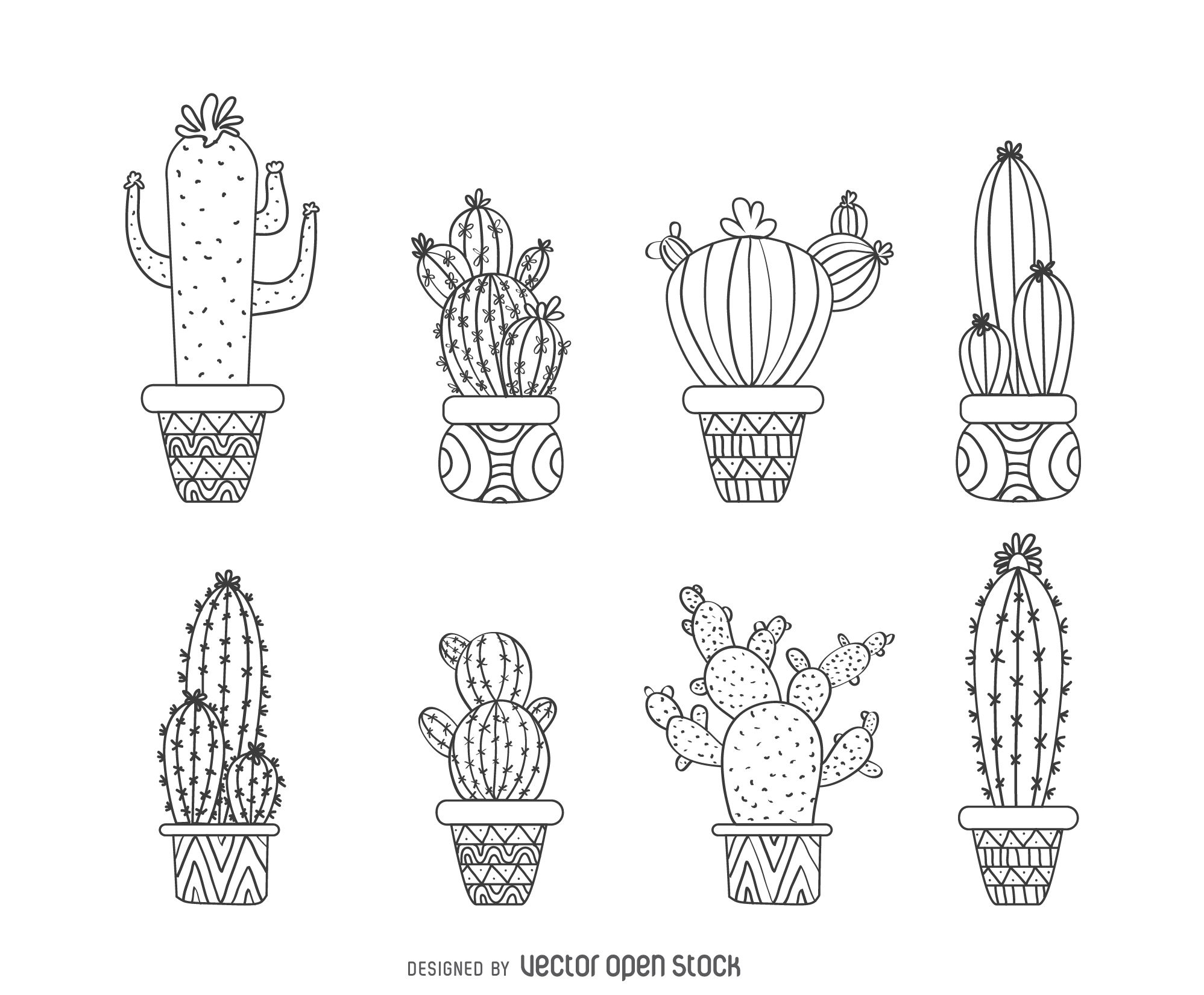 Set Of Illustrated Cactus Outlines Featuring Multiple