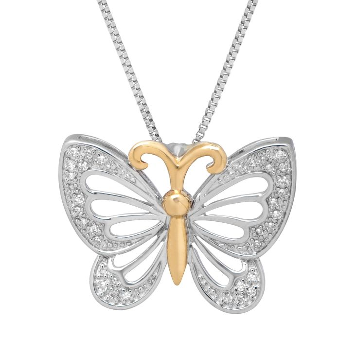 ct Diamond Open Butterfly Pendant Necklace in Sterling Silver