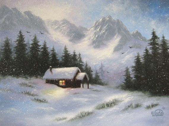 Snowy Hideaway Original Oil Painting, Art, Snow, Cabin