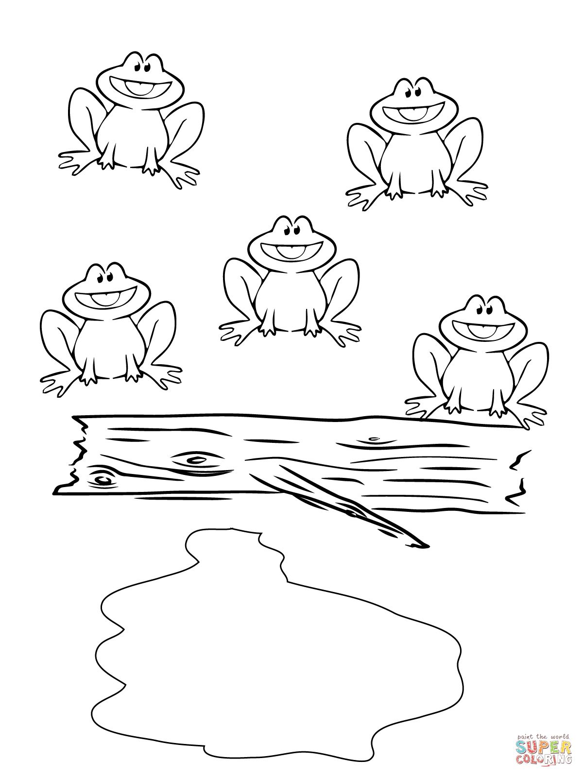Five Little Speckled Frogs Coloring Page