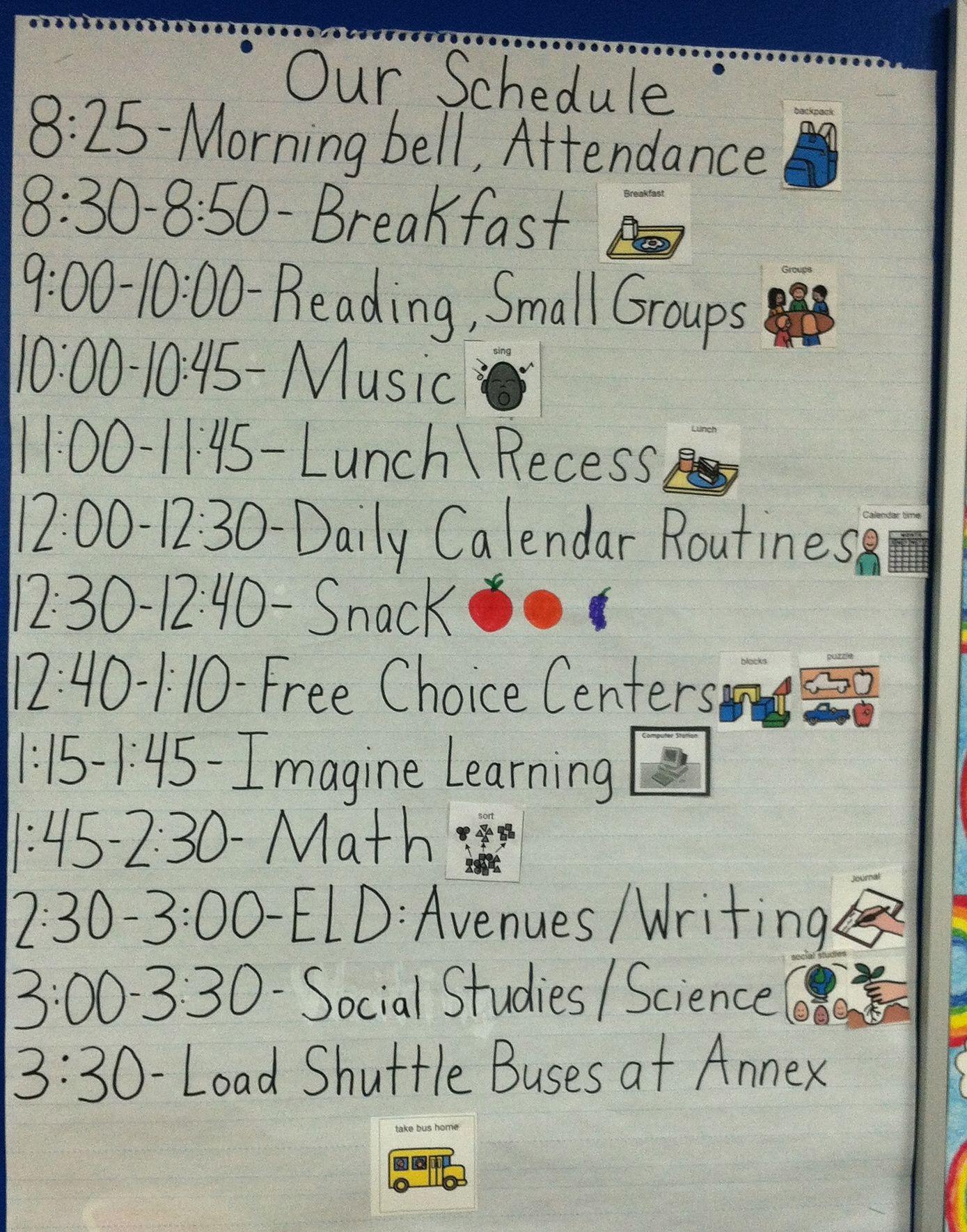 Daily Kindergarten Schedule