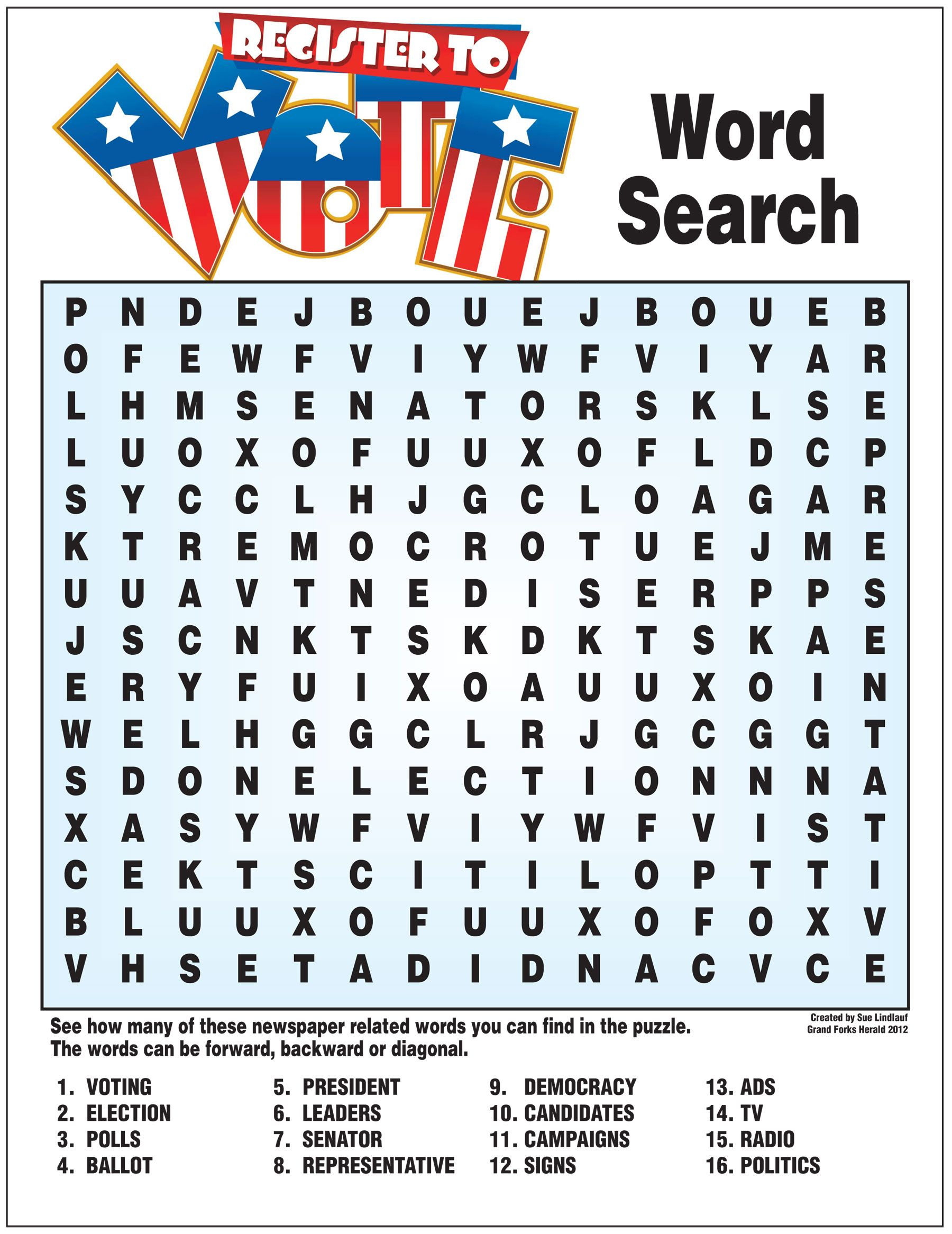 Elections Word Search