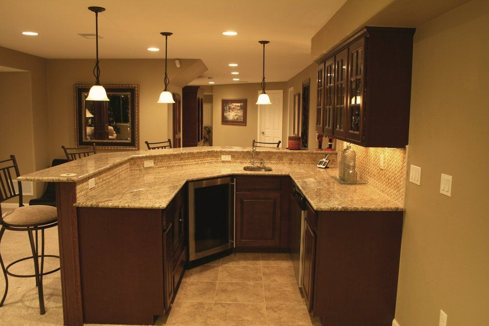 Wet Bar With Granite Counter, Mosaic Tile Back Splash In