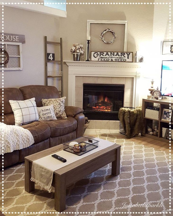 Cozy living room brown couch decor ladder winter decor For the