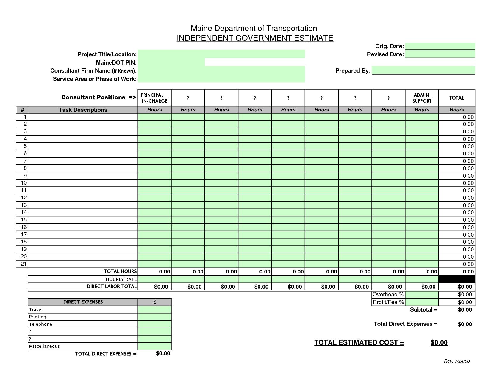 Construction Bid Sheet Template