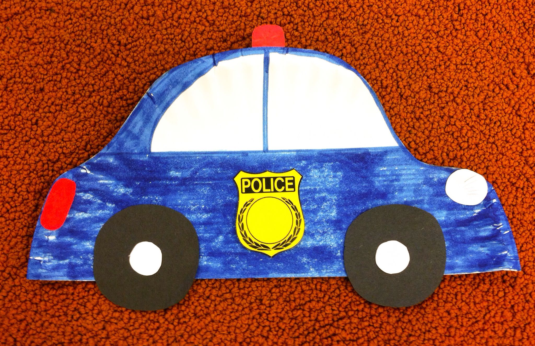 Community Hero Police Car Craft Made From Half A Paper