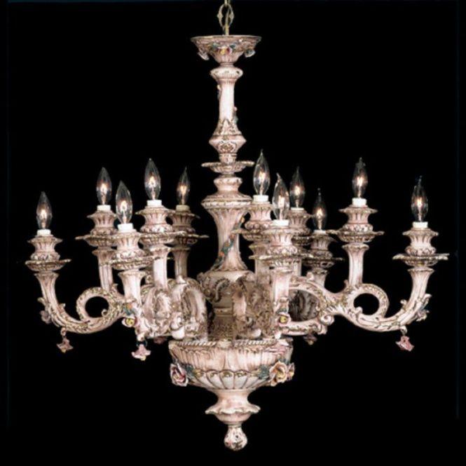 Capodimonte Italian Porcelain Chandelier 12 Light New Ceilingfixtures