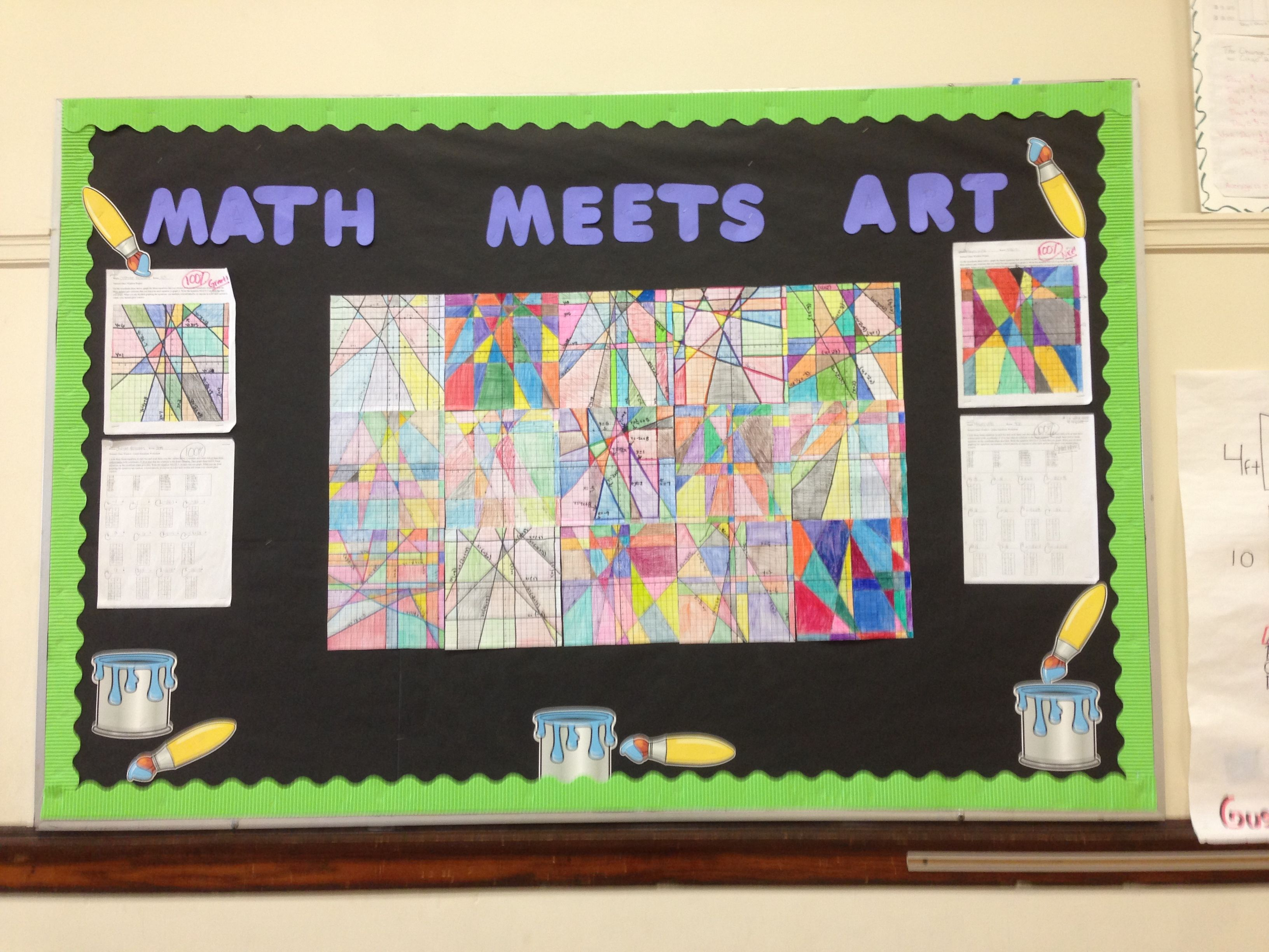 Linear Equations Math Bulletin Board Using Lines To Create Abstract Art Find Coordinates And