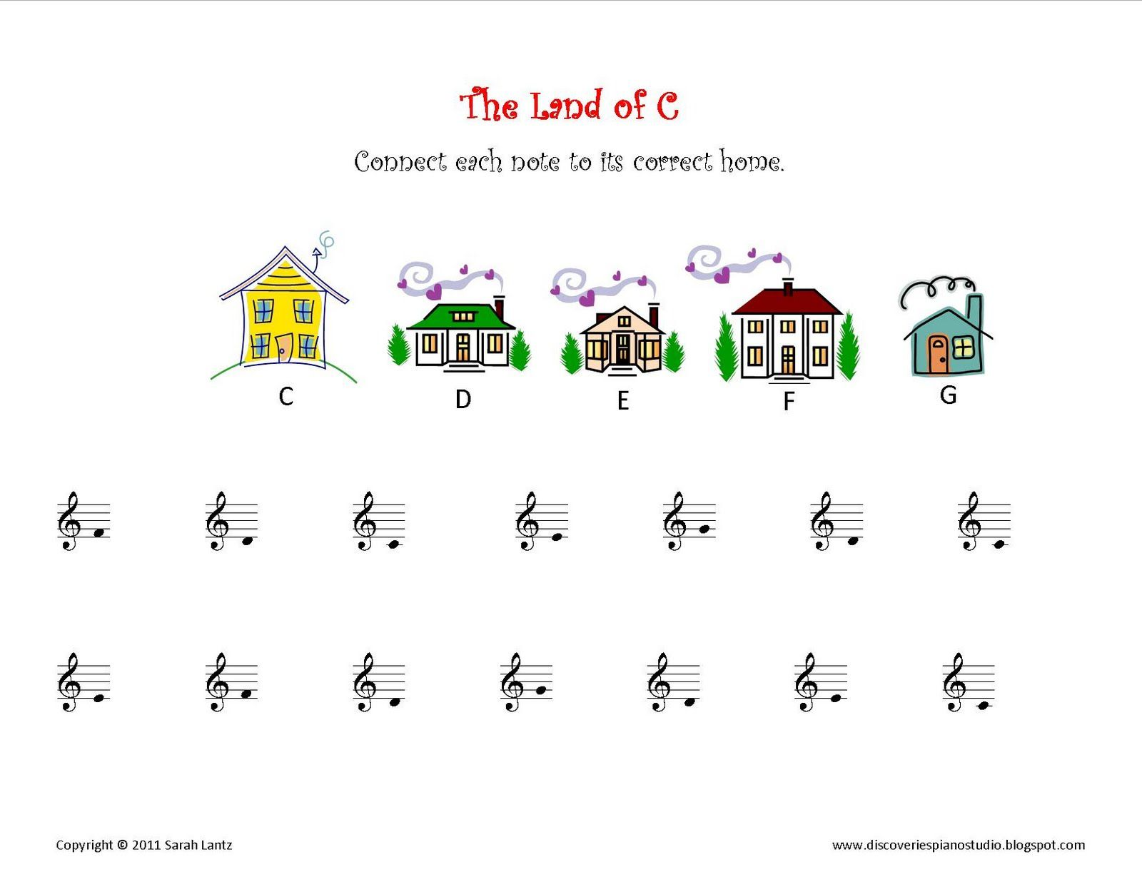 Discoveries Piano Studio New Worksheets For Learning C Position Notes