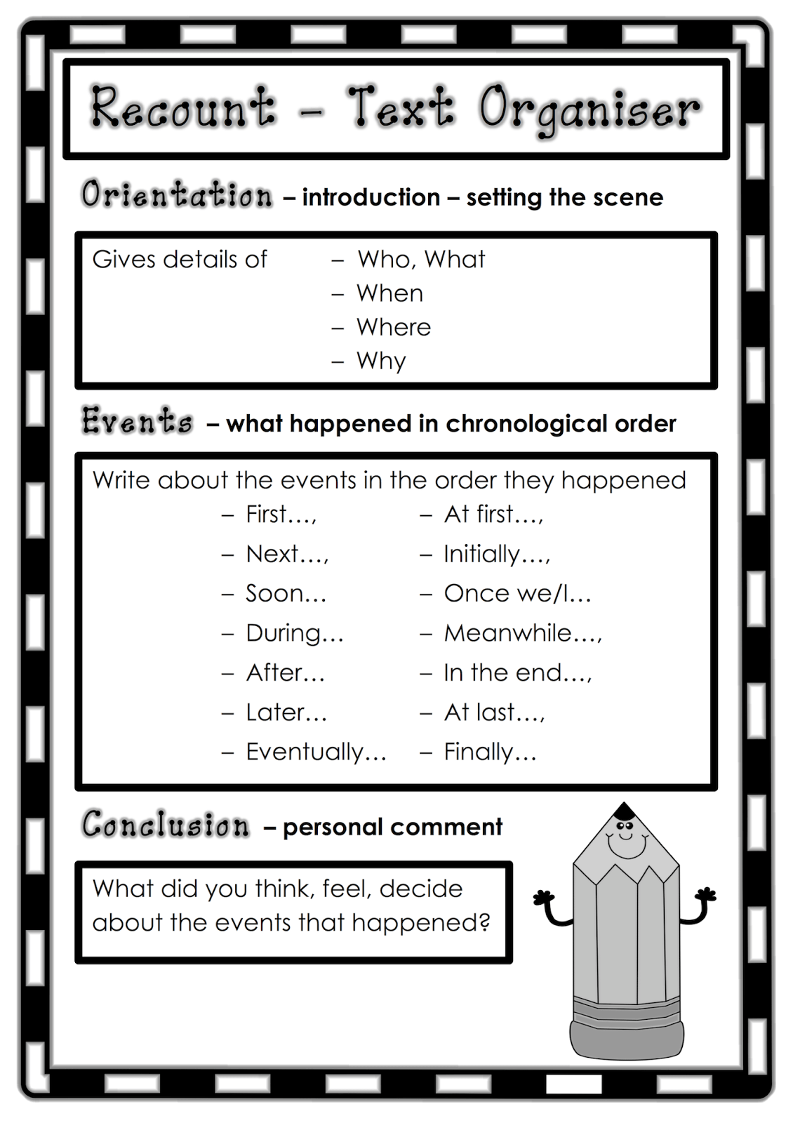 Text Organiser For Recount Writing Classroom Treasures