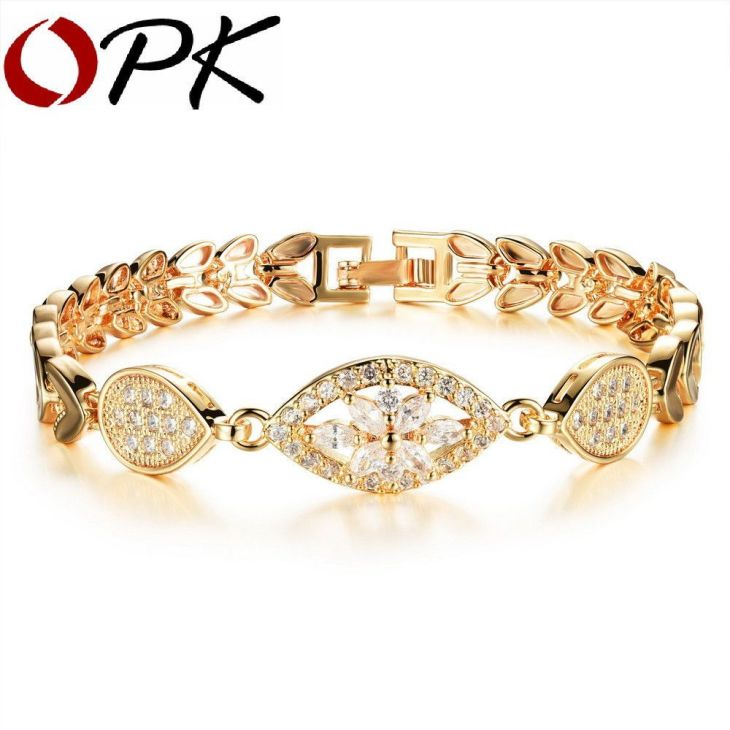 Luxury K Gold Plated Shinning AAA CZ Chain Link Bracelet