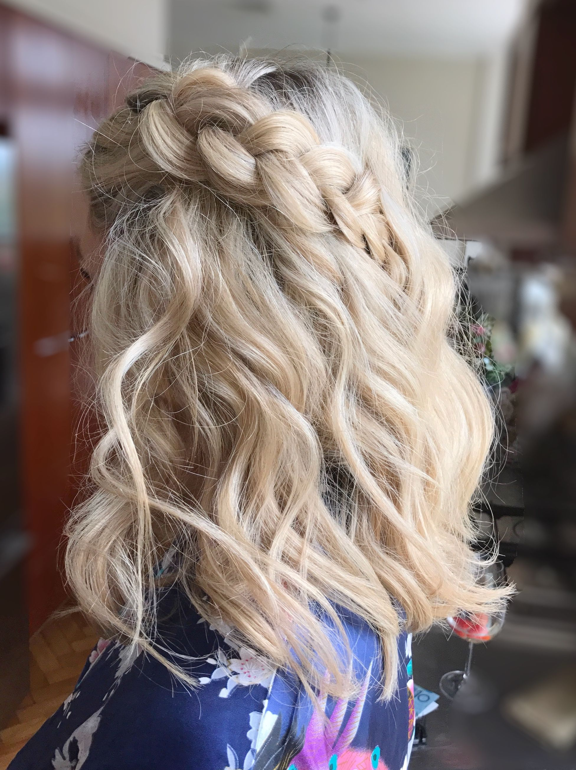 Half up messy curl with thick Braid by Sarah Powder Room