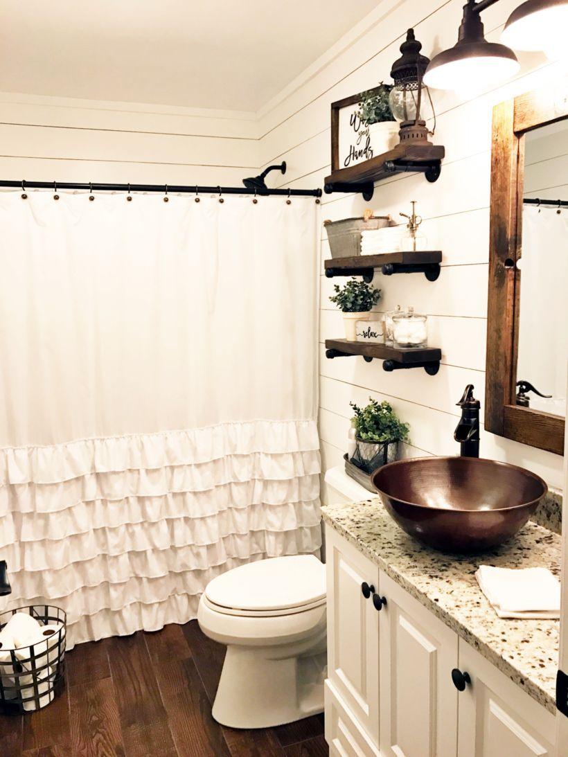 55 Farmhouse Bathroom Ideas for Small Space | Small spaces ... on Nice Bathroom Designs For Small Spaces  id=72415