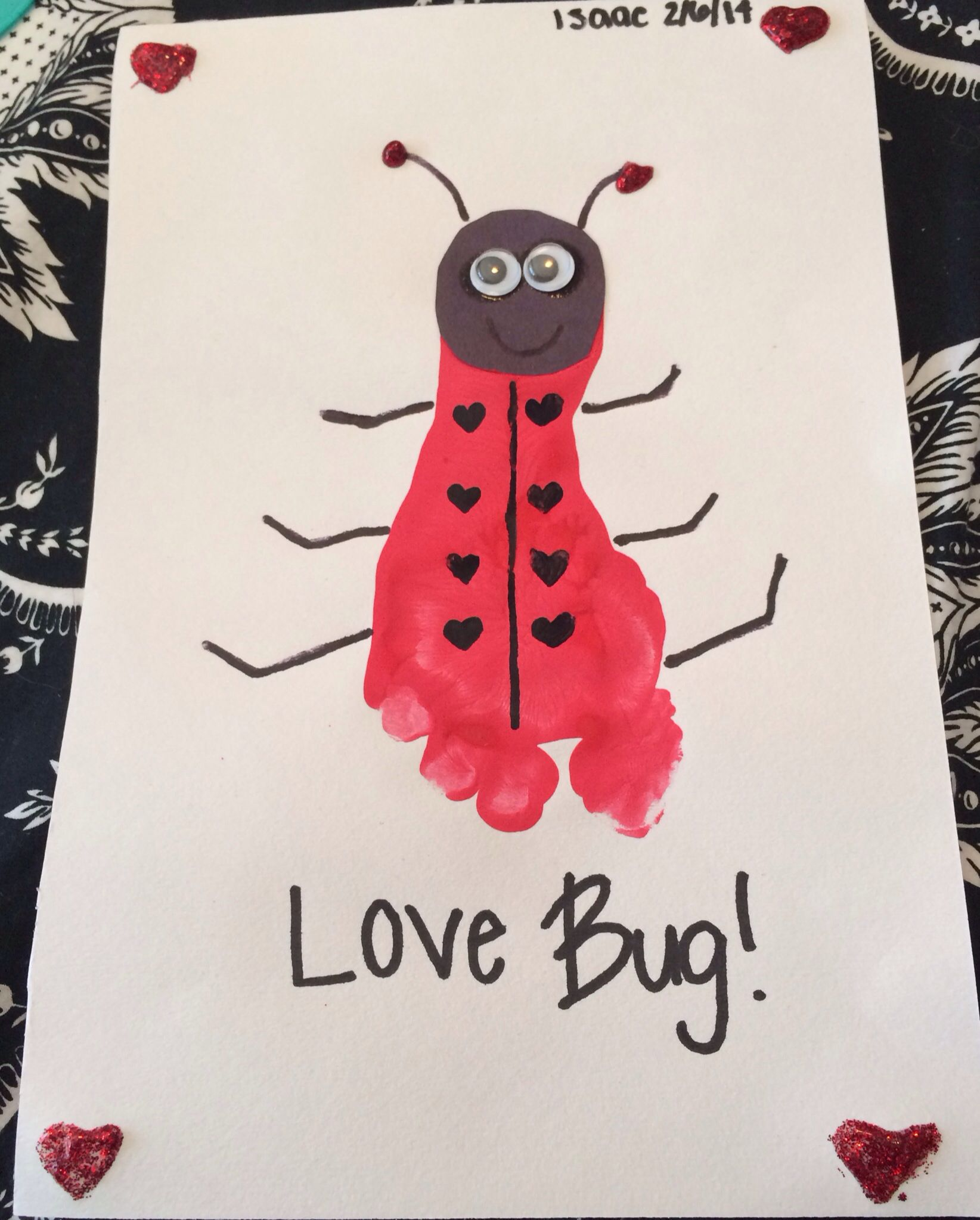 Love Bug Valentines Day Craft Footprint Red Paint