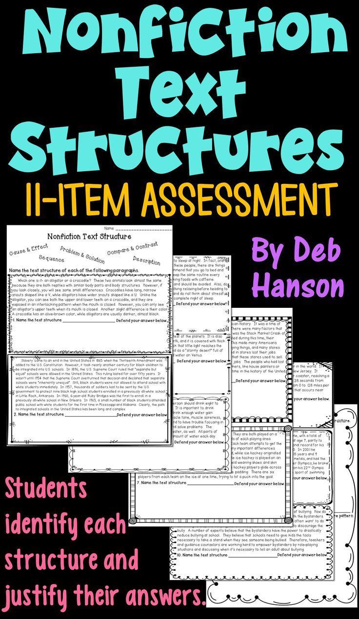 M Ti L Text Structure Ssessment W Ksheet