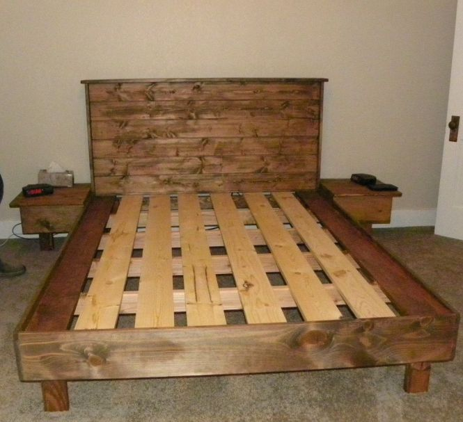 A Queen Size Bed Platform No Box Spring Necessary Built From And Tongue Groove White Pine For The Headboard Walnut Stain