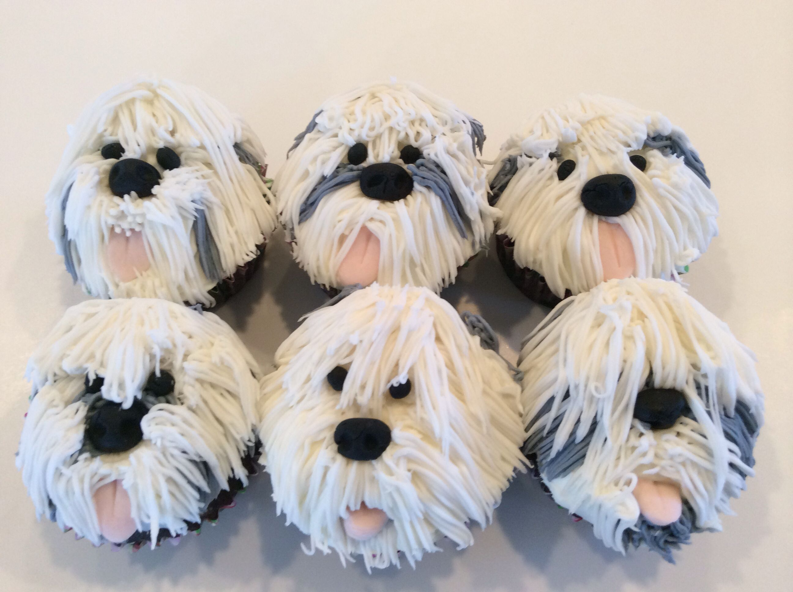 """English Sheepdog Cupcakes (or """"Pup"""" Cakes If You Prefer"""