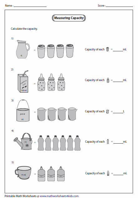 Capacity of Smaller Object Metric Units Math