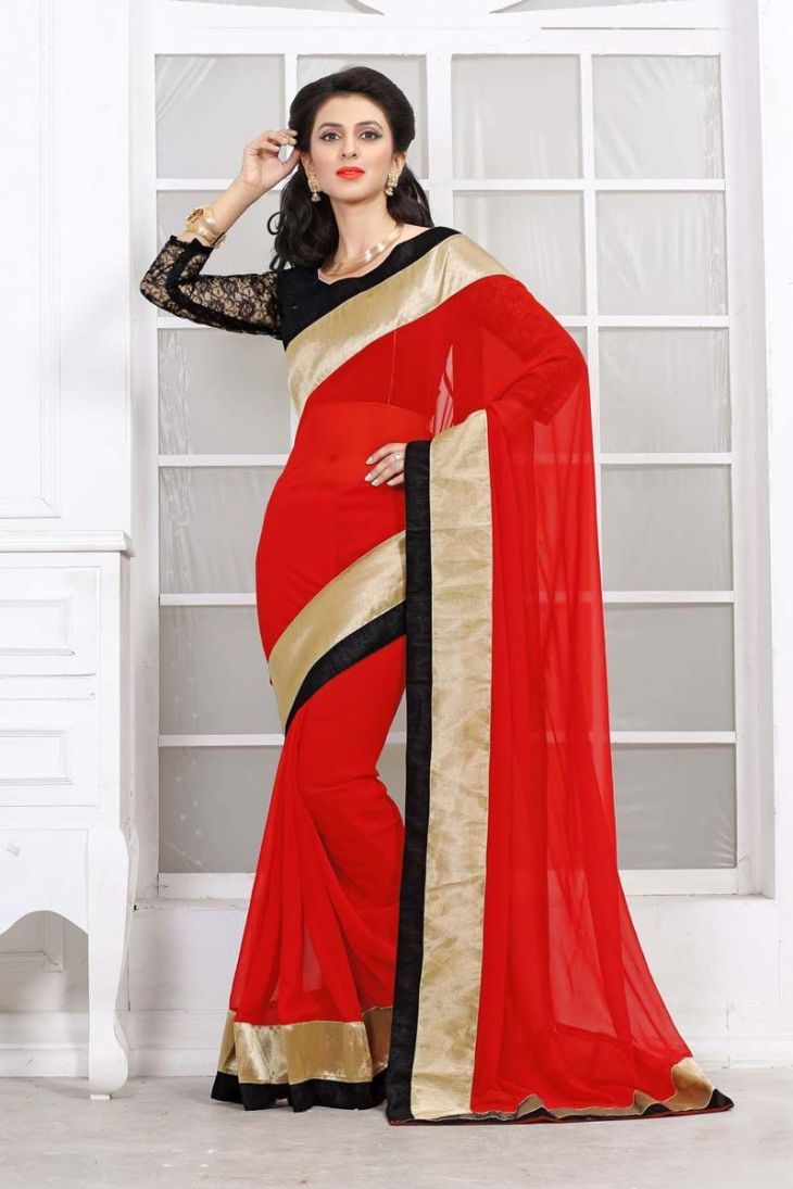 Red Georgette Party Wear Saree  Eastern Adornmant  Pinterest