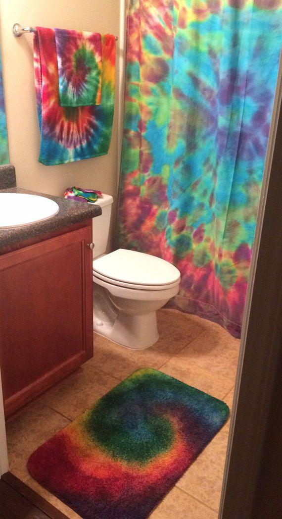TIEDYE BATHROOM SET Rainbow Swirl Shower Curtain By COMScreations Tie Dye Pinterest